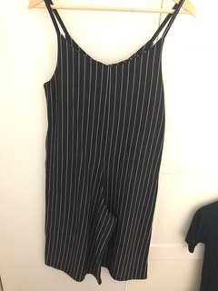 Jumpsuit stripe no brand black and white