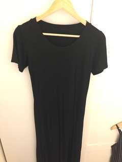 Long dress slit black kaos