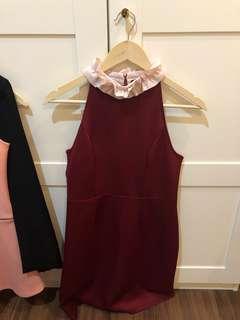 Posh the label red maroon dress cny cheongsam qipao