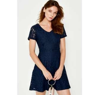 BNWOT Love and Bravery LAB Austino Lace Flare Dress in Navy