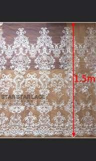 Embroidered silk gauze mesh lace white, price is per 1.5 meter - PO