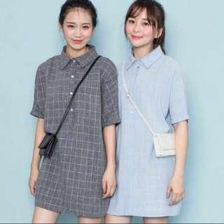 Korean Ulzzang Grid Babydoll Shift A-Line Dress