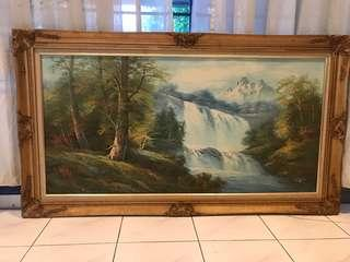 Water fall nice painting with frame