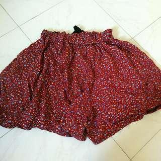 Maroon Red Floral Lounge Runner Shorts