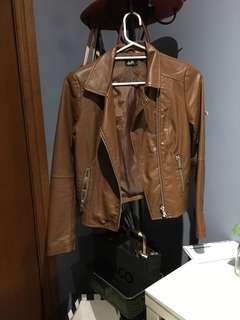 BRAND NEW Faux leather brown jacket