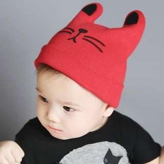 🚚 ✔️STOCK - KITTY CAT RED KNITTED BEANIE HAT UNISEX BABY BOY/GIRL CHILDREN KIDS HEAD HAIR ACCESSORIES