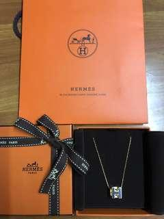 Hermes 頸鏈 經典方型橙金 黑金 粉金 頸鍊頸鏈 Necklace 名牌手首飾頸鏈耳環 100%真