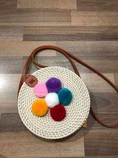 Round Rattan / straw bag with Pom poms