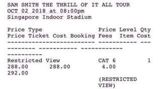 Sam Smith The Thrill of It All Tour (Oct 2) - Physical Tickets