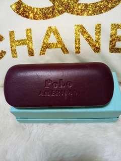 🌰美國 Polo AMERICAN 真皮咖啡色眼鏡盒