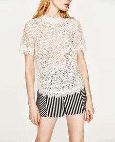 Zara white Embroidered lace blouse top shop mango river island maje sandro club monaco bcbg 外國優雅白色蕾絲襯衫