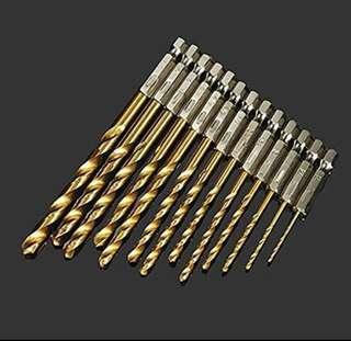 13X HSS Hex. Shank Drill Bit Set Quick Change Titanium Coated