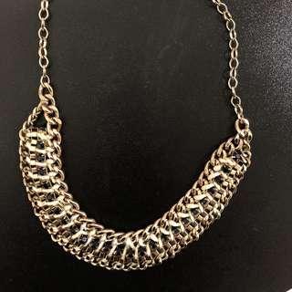 Gold Black Statement Necklace
