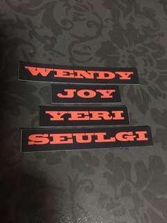 Instock Official the perfect red velvet bad boy sticker set name label // yeri Wendy joy seulgi