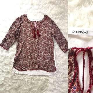PROMOD Blouse with Tassels