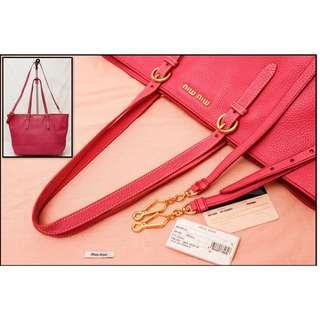 Miu Miu Leather Tote RR1905 , Color : Peonia