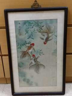 木鑲彩魚古畫掛畫掛屏 品相如圖