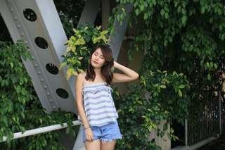 LB Love Bonito Cami Top in Blue Stripes