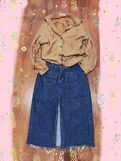 牛仔開衩長裙 前開衩 駝色襯衫👔#九月女裝半價