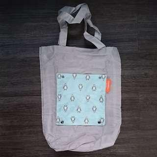 Grey and Pastel Blue Penguin Prints Nylon Roll up tote bag with pocket