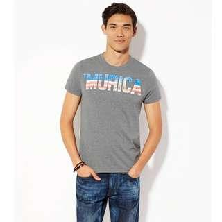 AMERICAN EAGLE OUTFITTERS GREY GRAPHIC TEE 男裝灰色底美國國旗字樣短袖衫