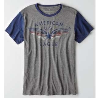 AMERICAN EAGLE OUTFITTERS AEO GREY T-SHIRT TEE 男裝灰色牛角短袖衫