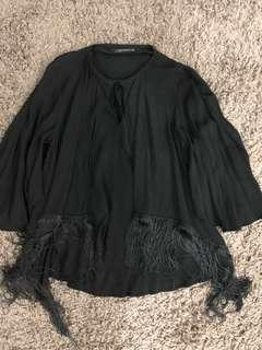 Zara black cape fringe top