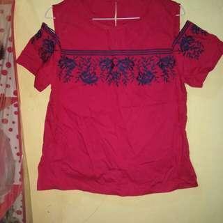 Blouse wanita / blouse shoulder merah