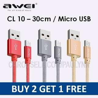 Awei CL-10 Micro USB Cable 30cm Samsung Cable CL 1`0