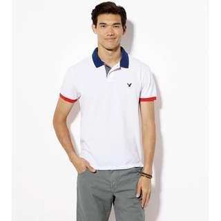 AMERICAN EAGLE OUTFITTERS MENS POLO SHIRT 男裝白色底深藍色紅色邊LOGO短袖衫