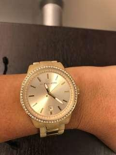 MICHAEL KORS BONE BAND WITH BLING WATCH