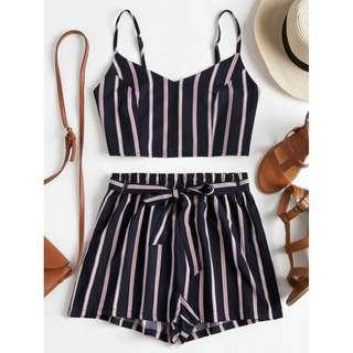 ZAFUL Striped Slip Top and Shorts Set