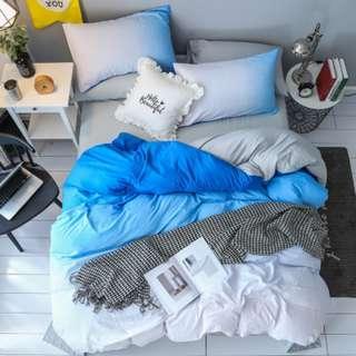 漸層天藍水洗棉4件套 單人 雙人床包組
