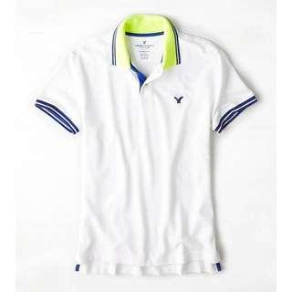 AMERICAN EAGLE OUTFITTERS AEO POLO SHIRT 男裝白色底彩藍色LOGO短袖衫