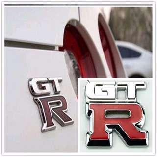 3D Metal GTR RED SILVER Emblem Badge Logo for Car and Bike