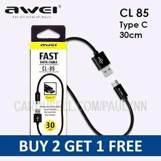 Awei CL- 85 Type C Cable 30cm Samsung Cable CL 85