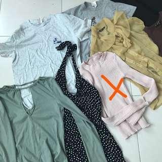 RM6 EACH!!! tops/dress/shorts