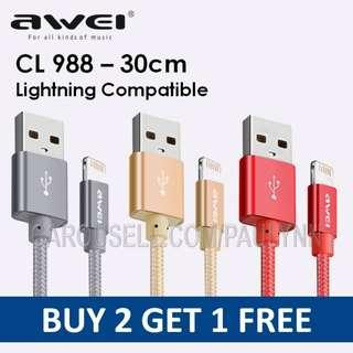 Awei CL-988 Lightning Compatible Cable 30cm Iphone Cable