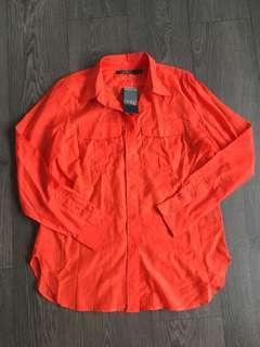 NWT Lauren Ralph Lauren Orange Button Down Blouse Size Medium