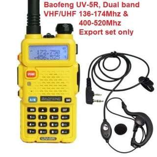 🚚 Limited stock!! BaoFeng UV-5R Walkie Talkie Dual Band VHF/UHF136-174Mhz & 400-520Mhz (Yellow) Long range car convoy Thailand Malaysia