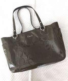 Coach Signature Embossed Patent Leather Tote