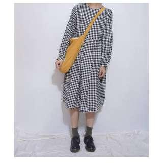 。error dot。鄉村黑白格紋娃娃洋裝 特價