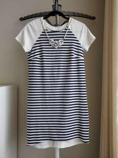 Blue and White Striped Dress with Necklace - Size 8
