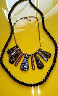 Black & Vintage Metal Necklaces