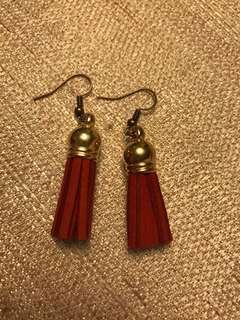 Tassel earrings- imitation suede