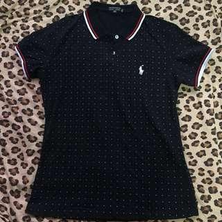 Polkadots Collared Black Shirt - XL