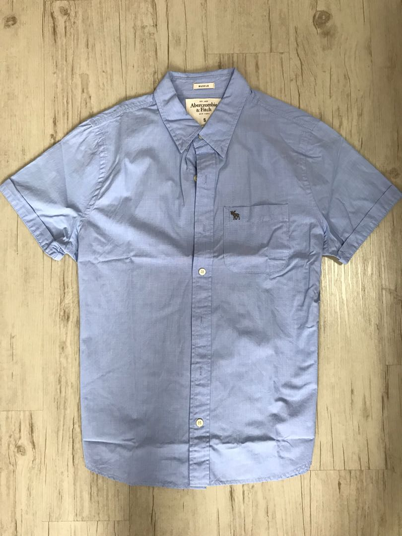 19573c481 Abercrombie and Fitch A&F Blue Muscle Fit Shirt, Men's Fashion ...