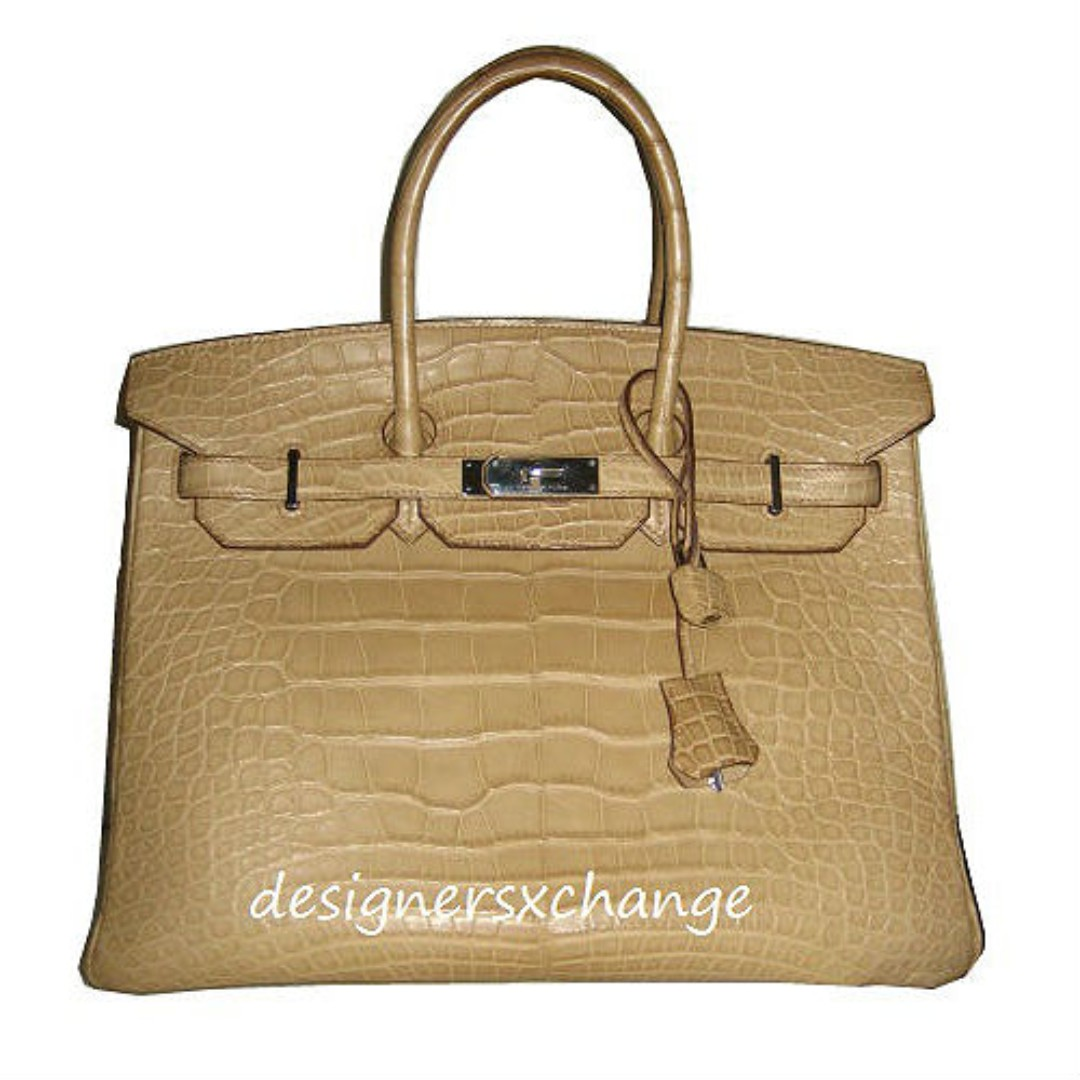 f68fc4ed31673 Authentic Hermes Birkin 35 Poussiere Matte Alligator Crocodile with ...
