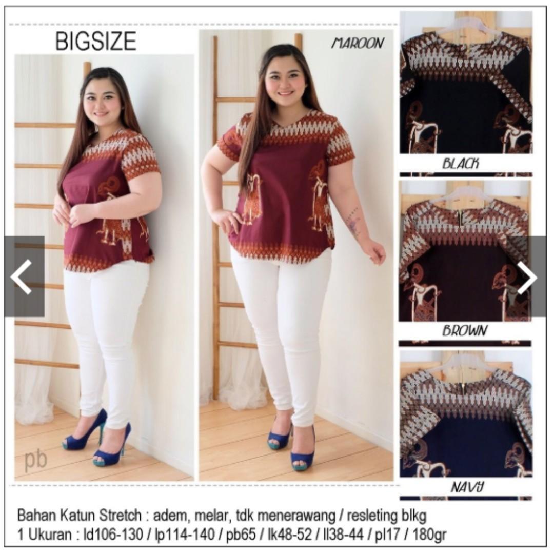 Blouse Batik Jumbo XL XXL XXXL Melar Baju Batik Bigsize Baju Batik Besar Atasan  Batik Jumbo da39a6c439