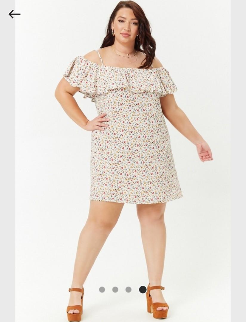 52c6f687b60b3 BNWT Plus Size Floral Print Open-Shoulder Dress